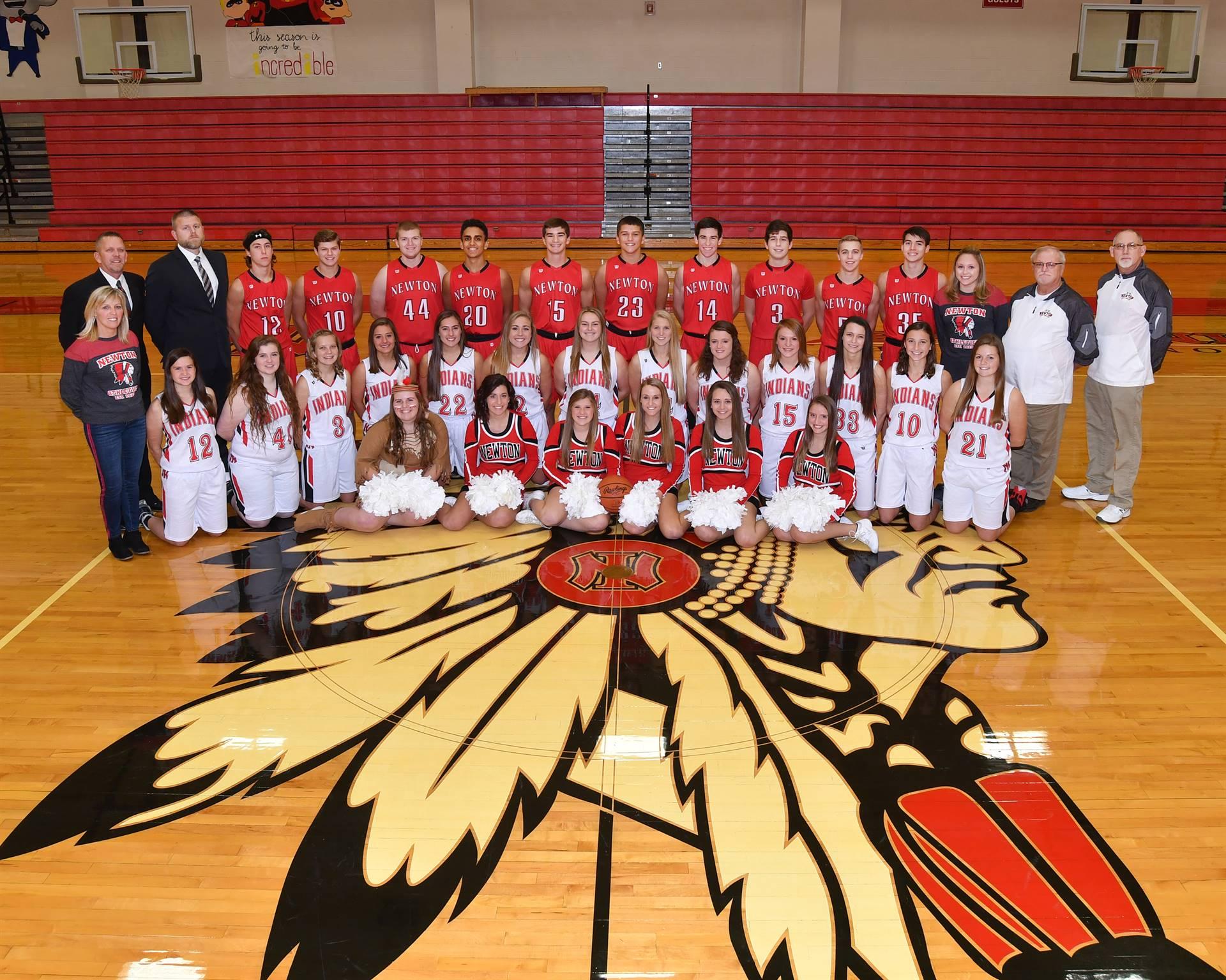 Newton Varsity Basket Ball Teams and Cheerleaders